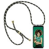 ZhinkArts Handykette kompatibel mit Samsung Galaxy A7 2018 - Smartphone Necklace Hülle mit Band - Handyhülle Case mit Kette zum umhängen in Grün Camouflage