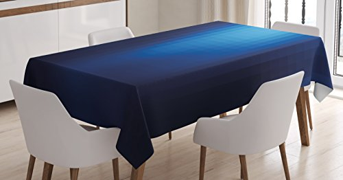 Ambesonne Navy Tablecloth, Blurry Mosaic Like Pixel Squares in Blue Ombre Colors Image, Dining Room Kitchen Rectangular Table Cover, 60' X 84', Pale Turquoise
