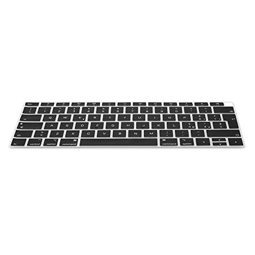kwmobile Silicone Keyboard Protection - QWERTY (Italian) Keyboard Cover Compatible with Apple MacBook Air 13' 2018 2019 2020 (A1932) - Black