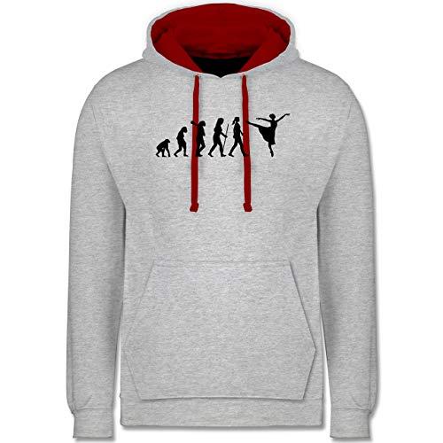 Shirtracer Evolution - Ballett Evolution Arabesque - M - Grau meliert/Rot - Mann - JH003 - Hoodie zweifarbig und Kapuzenpullover für Herren und Damen