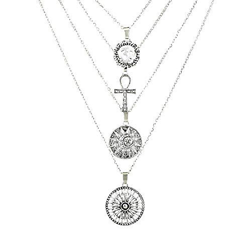 Vrouwelijke ketting - vrouw - maan - ankh - kruis - om - draden - vier hangers - kerstmis - zon - zilver - origineel cadeau idee