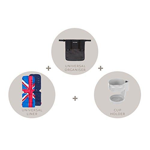 Maclaren Starter Kit – Essentielles Buggy-Zubehör zum Loslegen. Ein Einzelbuggy-Organiser, ein Universal-Sitzpolster und ein Getränkehalter. Passt auf alle Maclaren und die meisten anderer Marken