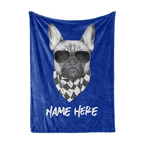 Personalized French Bulldog Fleece Throw Blanket Gifts - Warm Lightweight Extra Large Medium Small Size Frenchie Bull Dog Blankets for Men Women