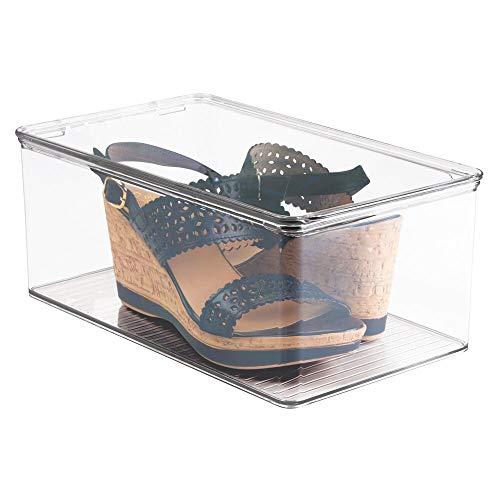 mDesign Cajas de almacenaje para zapatos – Cajas de zapatos transparentes con tapa – Cajas para guardar zapatos