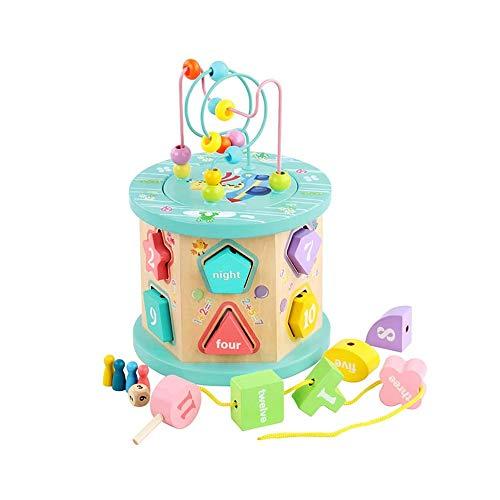 SYXX Kinder Lernspielzeug, 12-Loch-Kinder-Bildungs-Early Education Bördeln Bausteine, Holzspielzeug mit festen Geometrischen Formen, Perlenstickerei Intelligenz Box