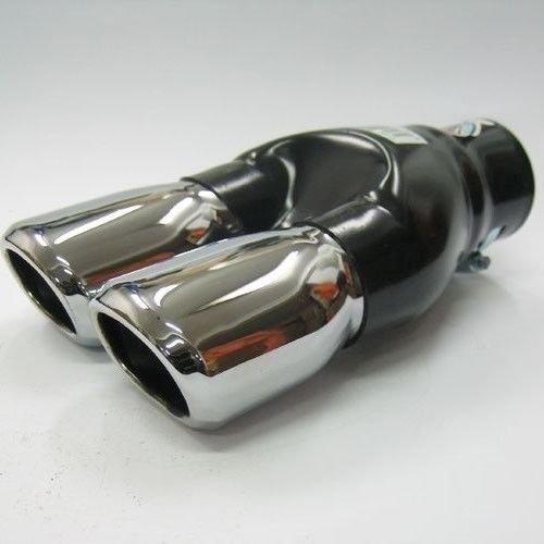 Autohobby 976 Doppel Auspuffblende Auspuff Universal Schalldämpfer Endrohr Doppelendrohr Sport Sportauspuff Edelstahl bis 60mm Ø A B C G D H J CC 3 4 5 6 7 Chrom