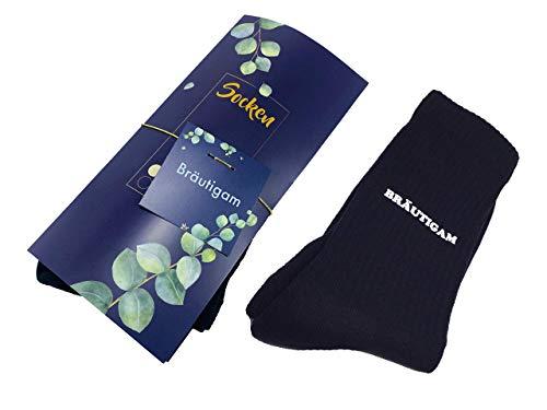 Socken Bräutigam bedruckt Hochzeit Trauung schwarz