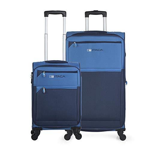 ITACA - Juego de Maletas Cabina y Grande Blandas 701017, Color Azul-Azul Marino