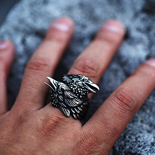 Serired Anillo Fundición Acero Inoxidable con Cuervo Vikingo para Hombre, Anillo Bodas Retro Odin Raven de Mitología Nórdica, Joyas de Tótem Celta Unisex,12