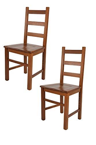 Tommychairs - Set 2 sillas Rustica para Cocina y Comedor, Estructura en Madera de Haya Color Nogal Claro y Asiento en Madera