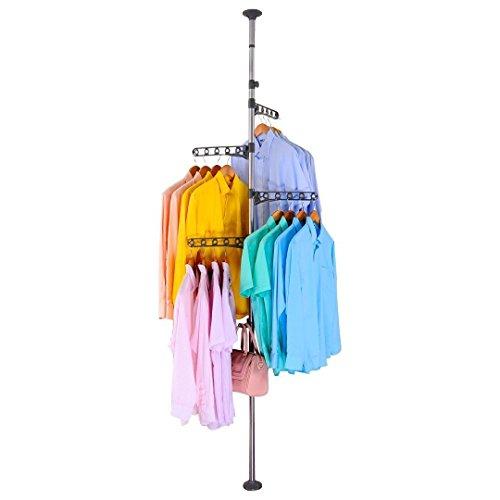 BAOYOUNI 4-Tier Stehend Wäscheständer kleiderständer Teleskopstange Kleiderbügel Organizer Boden bis zur Decke Höhenverstellbar Metall Teleskop Eckspannung Pole Hängendes Regal, Grau