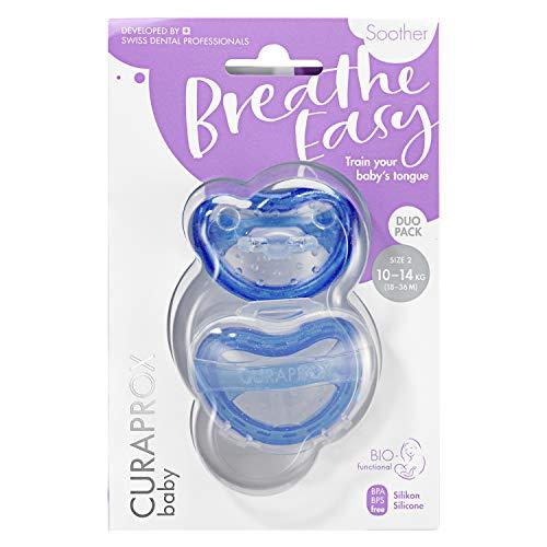 CURAPROX Baby Schnuller, blauer Schnuller, mit Aufbewahrungsbox, Größe 2; 10 bis 14kg bzw. 18-36 Monate, Pacifier, Soothie, blau, 2 Stück, 32 g
