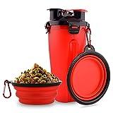 MATT SAGA Botella de Agua para Perros Portatil Envase de Comida para Perros con 2 Plegable Tazones para Perros Gatos Mascotas Adecuado para al Aire Libre Caminar Viajar (Rojo)