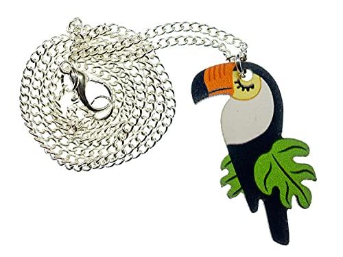 Miniblings Tucan Collar - joyería hecha a mano Moda bosque I pajaro calao 45cm selva loro Piciformes animal exotico - plata cadena de eslabones