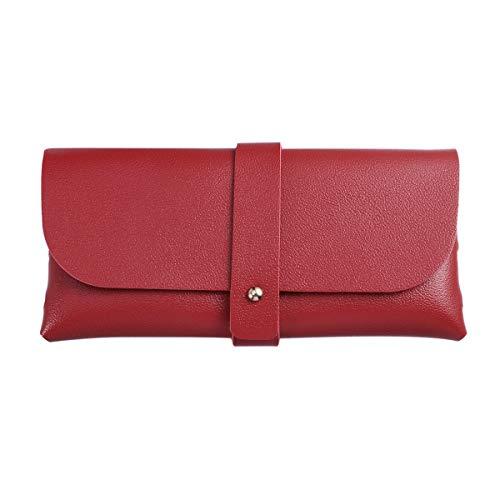Portafoglio donna borsa fatta a mano morbida borsa fibbia telefono titolare della carta custodia a conchiglia in pelle occhiali da sole caso (rosso)