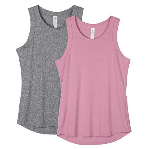 icyzone Camisetas sin mangas para mujer – camisetas atléticas de yoga para correr, gimnasio (paquete de 2) - - Medium