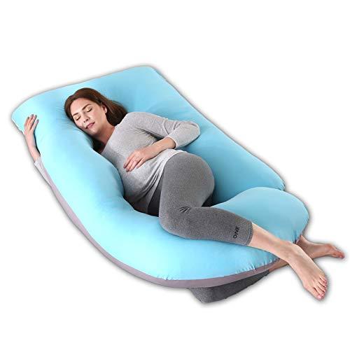 R&P Almohada Embarazada Maternidad Cojin Lactancia Forma de G Almohada de Cuerpo Entero Dormir, Fundas Algodon Desenfundable y Lavable Relleno de Poliester,C