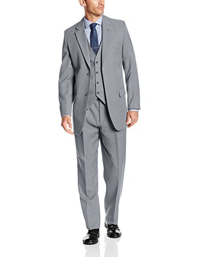 Stacy Adams Men's Suny Vested 3 Piece Suit, Light Grey, 46 Regular