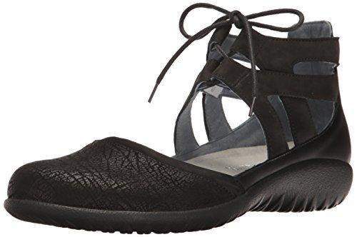 NAOT Women's Lace-up Kata Shoe Black Lthr Combo 11 M US