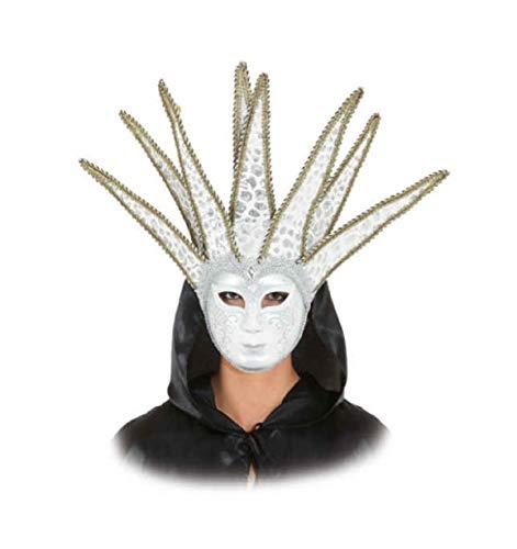 narrenkiste O46050 weiß-Gold Damen Herren Venezianische-Barock-Rokoko Maske Halbmaske mit...
