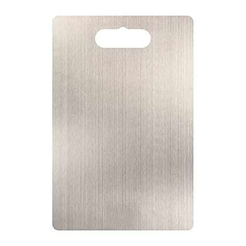 Belleashy Tabla de cortar de acero inoxidable 304, tabla de cortar estéril a prueba de moho, tabla de cortar frutas, fácil de limpiar (tamaño: 29 x 20 cm; color: plata)
