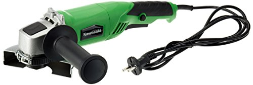 Kawasaki 603010561 K-AG Winkelschleifer 125 mm, elektrisch, Spindelarretierung, 800 Watt, 11.000 Umdrehungen pro Minute, Spindel M14, Zusatzhandgriff variabel, W, 230 V, grün