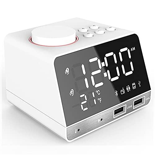 Radiowecker Digitaler Mit Kabellosen Bluetooth 4.2, Digital-Fm-Radio, Dual-Alarm Wecker Mit Schlummerfunktion, 4-Stufen-Dimmer, Temperaturanzeige, Handy-Usb-Ladefunktion FüR Ios/Android Telefon (Weiß)