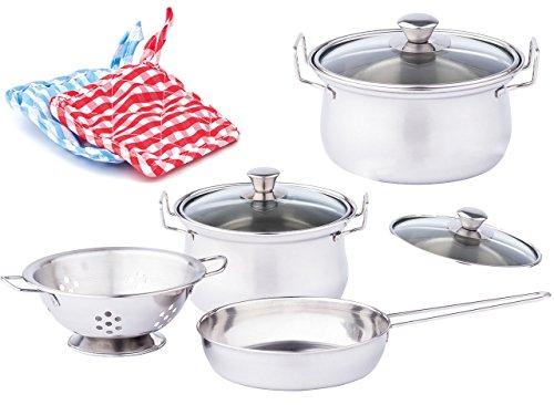 alles-meine.de GmbH 8 TLG. Kochset - Kinderküche aus Blech / Blechtöpfe - Topfset aus Alu Metall / Blech + Küchenhelfer - Geschirr - Töpfe Kochtopf für Kinder - Spiel Set Kochges..