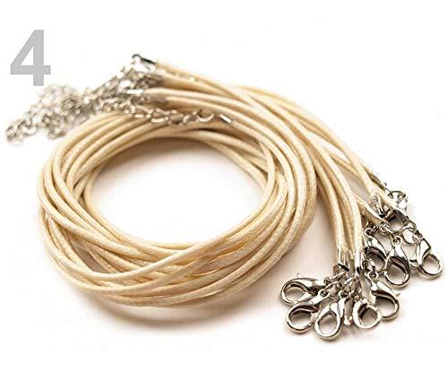 1pc Crema Trenzado Collar de Cordón Con Broche de Langosta Longitud 45 cm, Cables Y Cadenas de Fijación, Material de cuerda, Cuentas