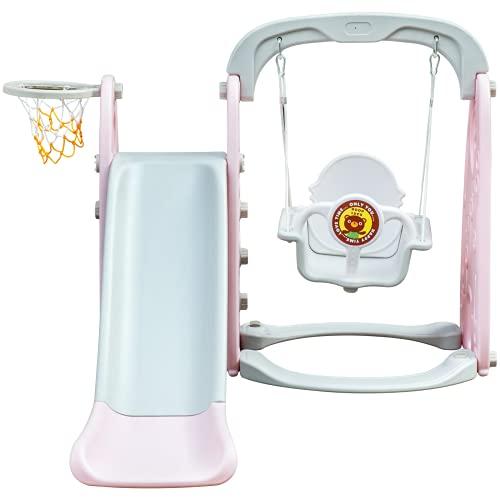 VEVOR Scivolo per Bambini Set Scivolo Altalena Interno Scivolo per Giardino Scivolo + Altalena + Piscina di Palline + Cesto a Palla 3-IN-1 Colore Rosa in Plastica