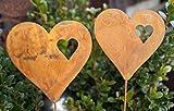 2 Rostoptik Herzen auf Stab Topfstecker Garten Dekoration Geschenk - 2 Stück