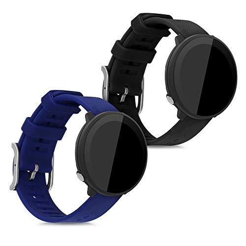 kwmobile 2X Pulsera Compatible con Polar Unite - Brazalete de Silicona Negro/Azul Oscuro sin Fitness Tracker