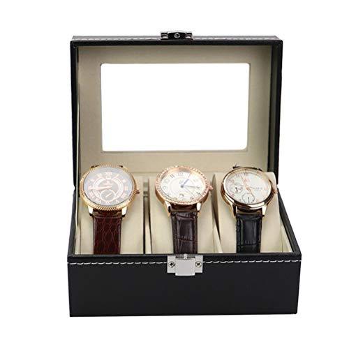 Yousiju Caja de Soporte de Reloj de Madera de Lujo con 6 Ranuras para Hombres, Mujeres, Organizador de Relojes, 3 Ranuras, Rejillas de Cuero PU, organizadores de Joyas (Size : 3Slots)