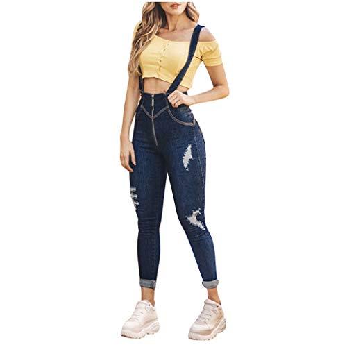 Dasongff retro jeansbroek, lange broek, mouwloos, met zakken X-Large donkerblauw
