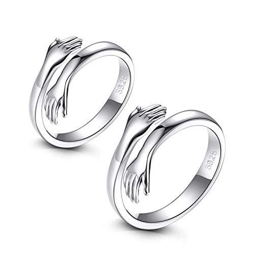 Shuxin 925 Sterling Silver Couple Hug Rings, Adjustable Solid Silver Embrace Thumb Ring, Unisex Resizable Silver Romantic Hug Hand Finger Ring, Silver Knuckle Toe Rings for Men Ladies Girls