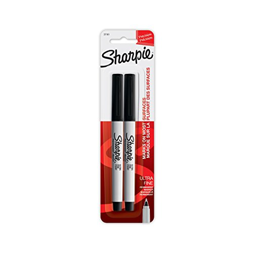 Sharpie Permanent Marker, Ultra Fine Tip, 2ct - Black