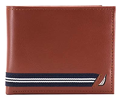 Nautica Men's NU Leather Flip ID Window Ribbon Passcase Wallet Tan