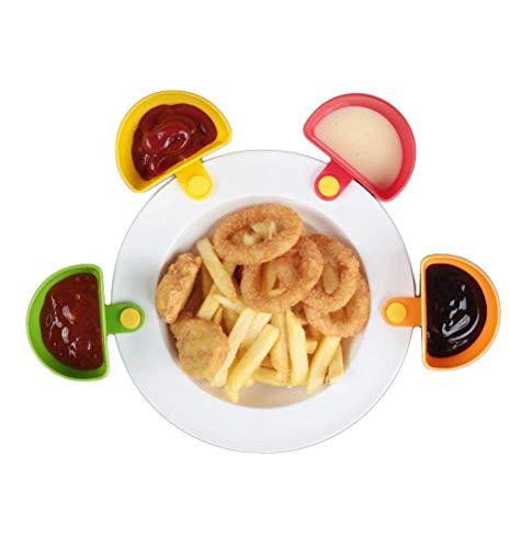 4 stks Plate Clip op Dip Clip Container Schotel Houders Plaat Pak Clip-on Bowl voor Tomatensaus Zout Azijn Suiker Specerijen Ketchup Keuken benodigdheden