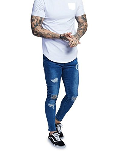 Men's Distressed Ripped Slim Skinny Fit Jeans Washed Denim Blue Pants 28a