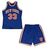 Knicks 33# Ewing Shorts de Baloncesto Vintage para Hombre, Conjunto de Jersey y pantalón Corto de Baloncesto de 2 Piezas SW, Camiseta sin Mangas de Hip-Hop de verano-Set-2XL