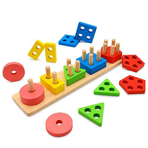 Euyecety Juguetes Montessori Juguetes para Niños Tablero para Apilar y...