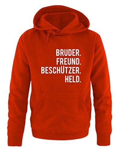 Comedy Shirts – Bruder Ami. Protections Held. - Sweat à capuche pour homme avec poche kangourou et manches longues - Rouge - XL