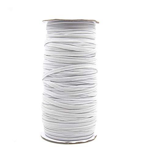 Cordón goma Elástico Bandas 5mm x 90m de cuerda elástica de cuerda elástica ancha trenzada para bricolaje, costura, manualidades, bandas de oreja (White)