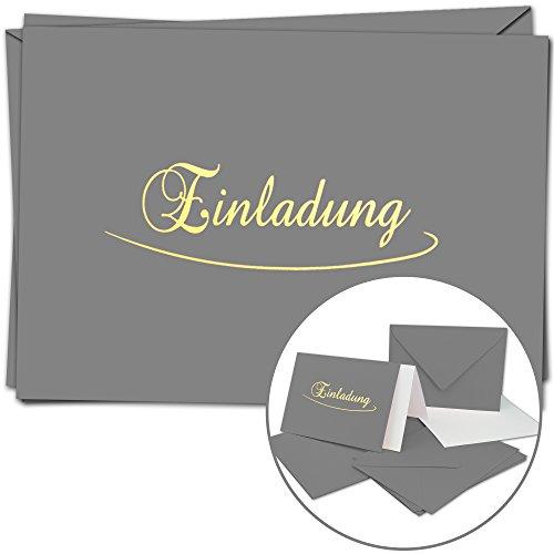 20 Einladungskarten im Set - DIN A6 - Komplett-Set aus Doppelkarte & Umschläge & Einleger, stilvolle Einladung für versch. Anlässe - Dunkel-Graue Karten und Hüllen mit Gold-metallic Schrift