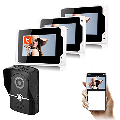 Tuya APP WiFi Timbre con video, monitor de 7 pulgadas, cámara de visión nocturna 1080P, videoportero, intercomunicador, sistema de seguridad para el hogar,1 camera + 3 display