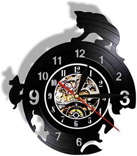 wttian Vinilo Reloj de Pared Ratón Disco de Vinilo Bell Lovers Hombres Mujeres Adolescentes y niños Regalo Arte Mural