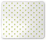 Drempad Gaming Mauspads Custom, Coconut Mouse Pad, Hawaiian Palm Tree Exotic Island Branches Holiday Ocean Theme, Standard Size Rectangle Non-Slip Rubber Mousepad, Pale Green Orange and White