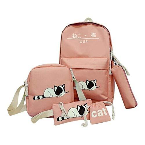 MFBis 5 Stück/Set Nette Katze Leinwand Rucksäcke für Frauen Mode Schultaschen Student Travel Rucksack Umhängetasche Teenager Schulrucksäcke, Pink, China
