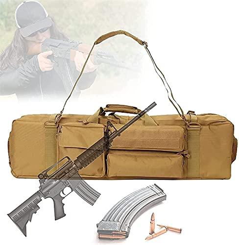 VULLDWS Funda táctica de doble rifle, bolsa de rifle de carabina suave con correa extraíble, cómodo mano, a medida, resistente al polvo de agua, bolsa de arma larga para la caza de deportes de tiro de