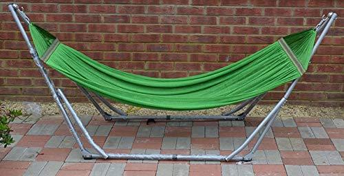 Alta calidad plegable hamaca–verde hamaca con soporte de acero plegable–interior y exterior para portátil viaje Swing silla y cama–Max capacidad 180Kg